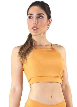 Cropped top fitness alcinha basic amarelo
