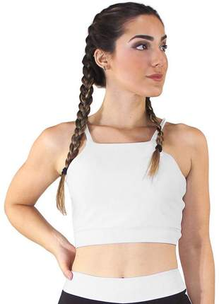 Cropped top fitness alcinha basic branco