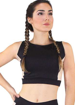 Top cropped fitness detalhe lateral rosê