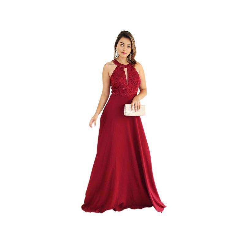 Elegance Shop / Vestido longo luxo gola alta  princesa com bojo forro e brilho discreto