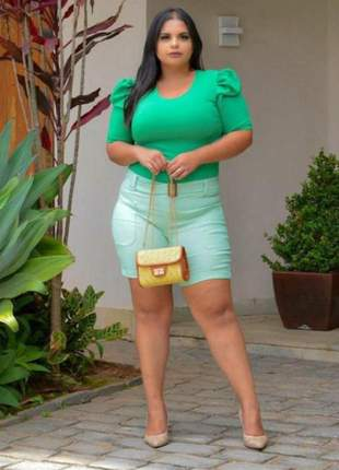 Blusa feminino blogueira plus size verde