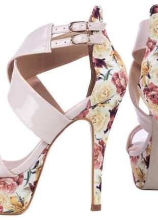Sandália feminina salto alto fino rose floral festa 1/2 pata