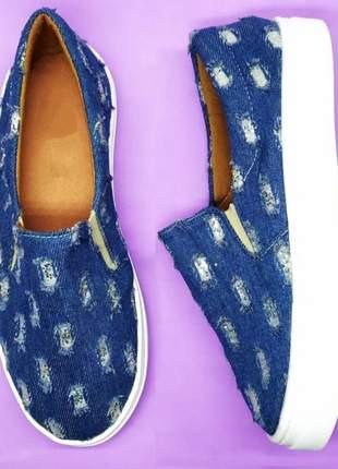 Tenis slip on feminino jeans rasgado com glitter azul claro ou escuro -atacado