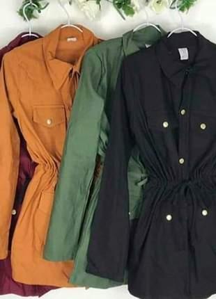 Parka casaco botões outono inverno