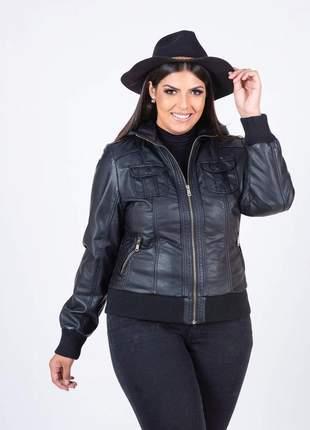 Jaqueta de couro feminina plus size forrada