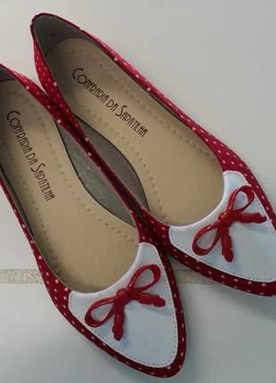 Sapatilha mocassim vermelha poá com lacinho top nº36