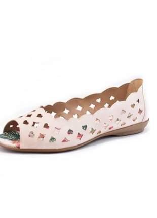 Sapatilha feminina peep toe renata della vecchia creme