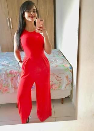 Macacão feminino longo pantalona social festa casual soltinho vermelho