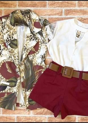 Conjunto estampado shorts + blazer + cinto