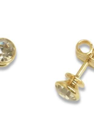 Brinco solitário cristal mm centro ouro fol rommanel