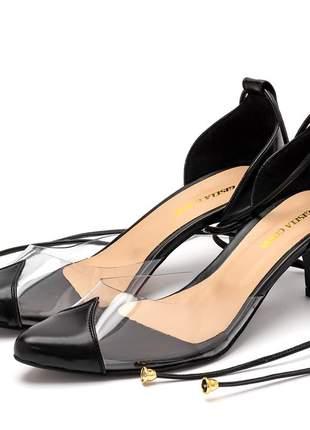 Sapato scarpin salto baixo transparente amarrar na perna preto