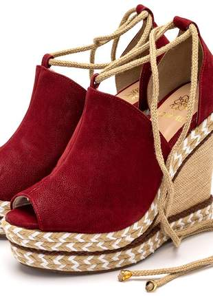 Sandália anabela feminina vermelha amarrar na perna
