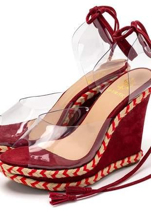 Sandália anabela transparente vermelha amarrar na perna corda