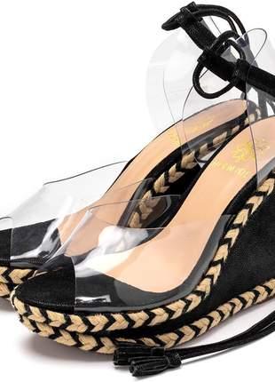 Sandália anabela transparente preto amarrar na perna corda