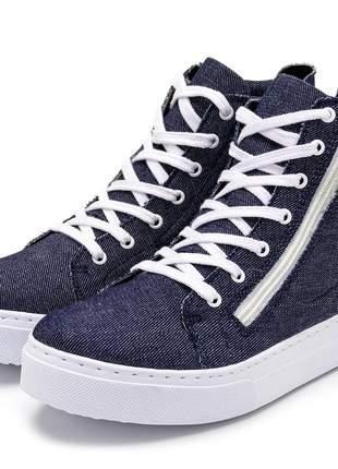 Tênis cano alto feminino jeans ziper