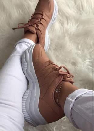 Tênis casual chunky sneaker - marron- mybella