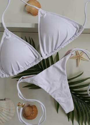 Biquíni cortininha lacinho fio – branco - soulbeach