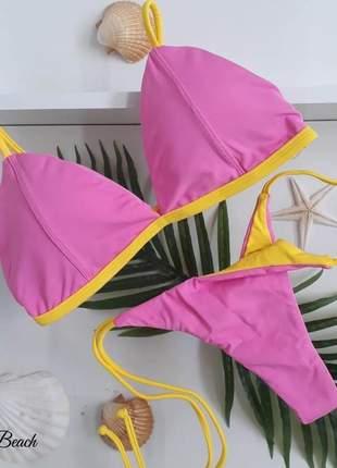 Biquíni retrô lacinho fio – rosa e amarelo - soulbeach