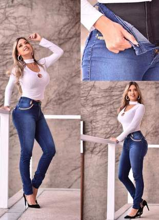 Calça skinny com cinta