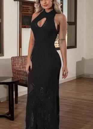 Vestido longo festa luxo preto marsala vermelho azul luxo