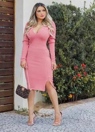 Vestido curto manga longa rosa princesa