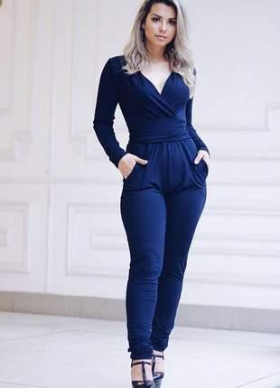 Macacão manga longa skinny azul marinho