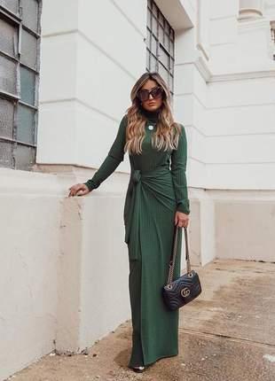 Vestido longo canelado prime manga longa verde escuro