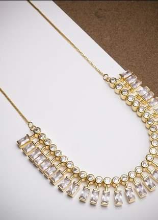 Colar cristal semi joia luxo coleção dubai