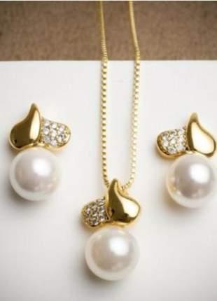 Conjunto colar e brinco perola coleção romântica