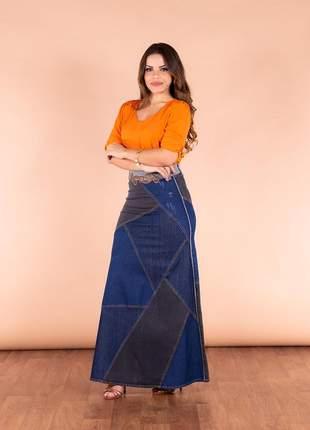 Saia jeans longa destroyed joyaly roupas evangelicas