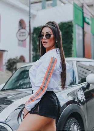 Blusa de frio corta vento feminina cropped com capuz ziper fashion
