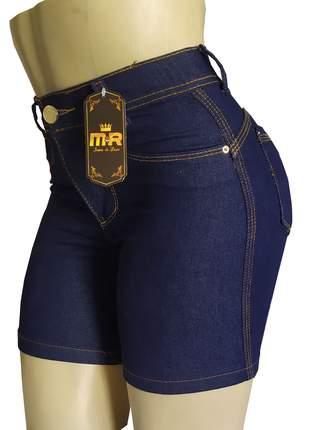 Bermudas meia coxa cintura alta feminino com lycra