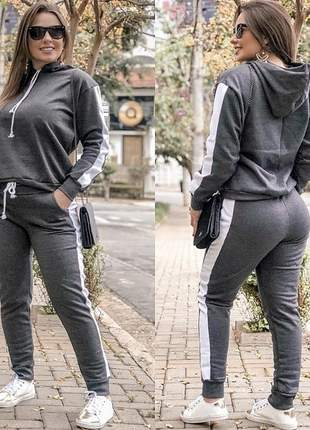 Conjunto moletom feminino inverno frio capuz listra lateral moda feminina