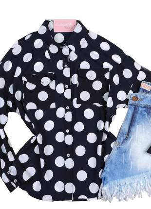 Camisa social feminina bolinha poá manga longa cs30
