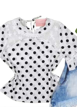 Blusa social feminina poá detalhe tule branca bs070