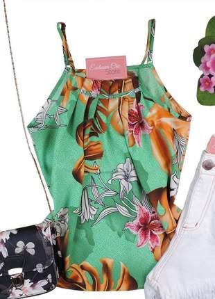 Blusa feminina regata babado estampa floral verde bs546