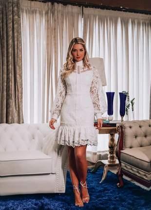 Vestido casamento civil renda midi curto branco doce maria