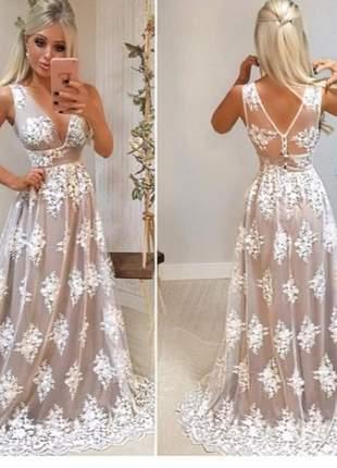 Vestido renda off noivinha casamento civil doce maria