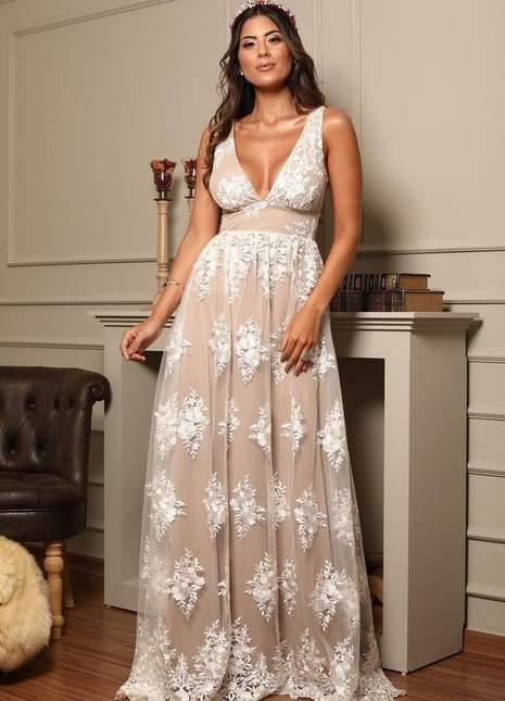 Vestido renda off noivinha casamento civil doce maria - R