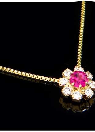Corrente fina c/ pingente 45 cm rosa semi joia - fator 1043