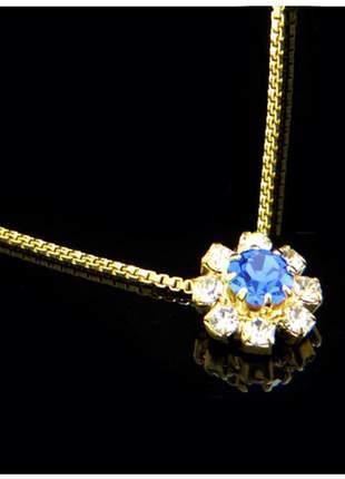 Corrente fina c/ pingente 45 cm azul semi joia - fator 1043