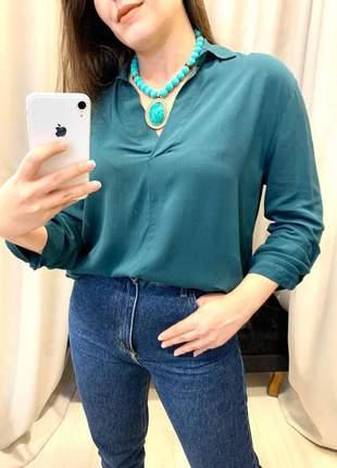 Camisa feminina descolada verde