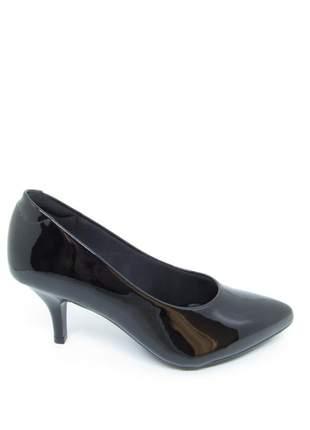 Sapato scarpin salto baixo preto verniz modare