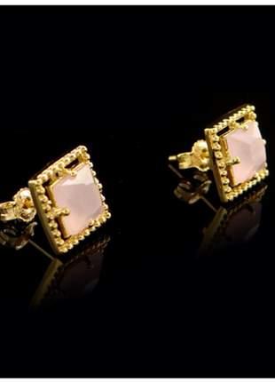 Brinco quadrado com pedra rosa semi joia - fator 0807