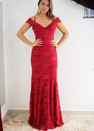 Vestido longo renda vermelho sereia bojo festa casamento formatura