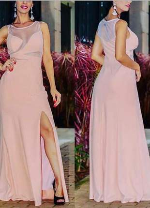 Vestido nude longo justo detalhes tema noite dia casamento rosê