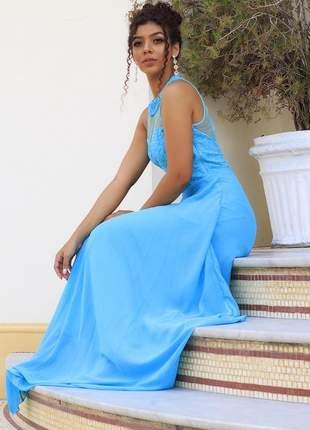 Vestido azul tiffany moda festa longo madrinha formanda