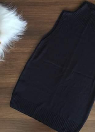 Regata tricot modal de lã gola alta preta