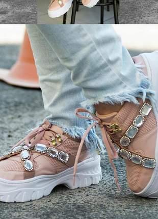 Tênis feminino plataforma sneakers blogueira chunky pedraria kasual couro ecológico