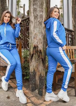 Conjunto moletom calça e blusa azul com gorro quentinho